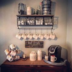Coffee Bar Ideas - Rae Dunn Canisters and Rustic Decor is the PERFECT way to pull this coffee station together