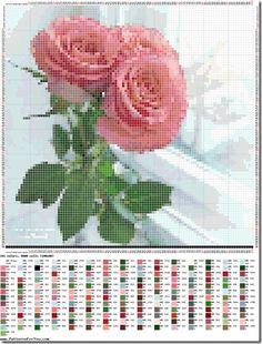 Gráficos de Ponto Cruz: Gráficos grátis rosas ponto cruz