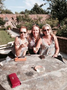 Birthday Champagne at the Babington House in Somerset England with dear friends Julie and Daisy