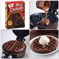 Last week Cuisinart sent me their Breakfast Central. It is a waffle/omelette mak. - New meals - Healty Dessert Chocolate Waffles, Chocolate Cake Mixes, Chocolate Syrup, German Chocolate, Chocolate Box, Chocolate Brownies, Waffle Maker Recipes, How To Make Waffles, Making Waffles
