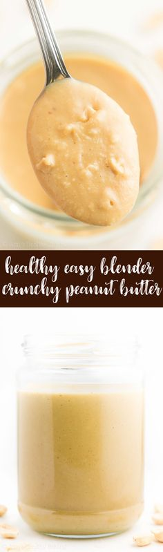 Healthy Homemade Crunchy Peanut Butter -- made in a blender! SO easy & tastes AMAZING!! I'm never going back to store-bought again! | healthy homemade peanut butter | homemade blender peanut butter | how to make homemade peanut butter | clean eating homemade peanut butter
