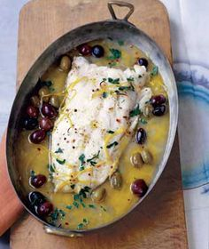 Roasted Pacific Cod With Olives and Lemon. Very simple and you can use any white fish.