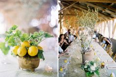 lemons and olive leaves to decorate a rustic outdoor wedding