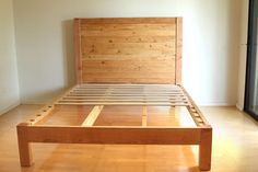 How to build a beautiful DIY bed frame & wood headboard easily. Free DIY bed plan & variations on king, queen & twin size bed, best natural wood finishes, and lots of helpful tips! - A Piece of Rainbow Wooden Queen Bed Frame, Wooden Bed Frame Diy, Diy King Bed Frame, Bed Frame Plans, Bed Frame And Headboard, Diy Frame, Headboard Benches, Wood Headboard, Headboard Ideas