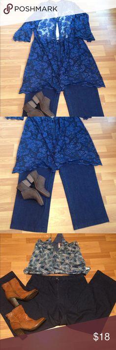 Kimono, cardigan plus size 18/20 Venezia Jeans by Lane Bryant. Lace free pants size 18 by Westbound Capri style Venezia Sweaters Cardigans