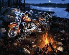 Мотоцикл у костра, картина раскраска по номерам, размер 40*50см, картины своими руками. 750 руб.