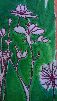 Wild flower stitched card. £3.50