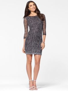ac0351c4558 Black and White Textured Lace Dress  CacheStyle Lace Sheath Dress