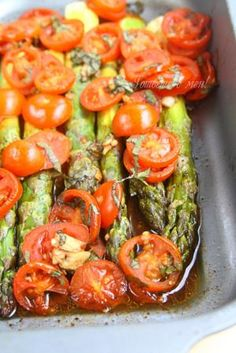 Baked asparagus and tomato (Печени аспержи и домати)