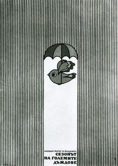 passarinho de sombrinha na chuva
