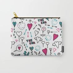 feelings exposed - doodle print with love Carry-All Pouch by Marta Janicka - murkydesign - Small x Small Makeup Bag, Organize Your Life, Funny Love, Carry On, Valentine Doodle, Pattern Design, Zip Around Wallet, Coin Purse, Doodles