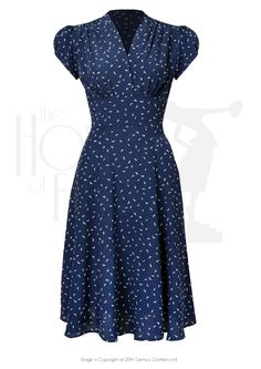 1930s 40s Ava Tea Dress in Starling Crepe - House of Foxy
