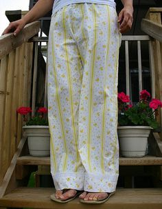 Pajama Pants From Sheets - PDF Tutorial. These would be great from flannel sheets for winter or vintage cotton cut short (capri size) for summer.