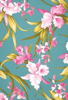 Retro Kunst, Retro Art, Vintage Floral Backgrounds, Flower Backgrounds, Paper Wallpaper, Print Wallpaper, Textile Patterns, Flower Patterns, Exotic Art