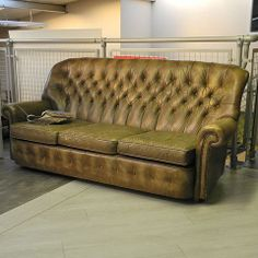 Wade Tan Leather 3 Seater Chesterfield - Love Salvage