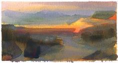 Land Sketch, Sunset in Death Valley, Nathan Fowkes Landscape Sketch, Watercolor Landscape, Abstract Landscape, Landscape Paintings, Small Paintings, Abstract Oil, Abstract Watercolor, Watercolor Paintings, Watercolours