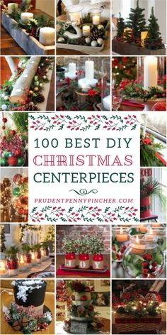 100 Best DIY Christmas Centerpieces from Stephy @ Prudent Penny P. Give your table a festive makeover with these beautiful and creative DIY Christmas centerpieces. From rustic and farmhouse themed centerpieces to traditional and glam centerpieces, there a Simple Christmas, Christmas Home, Christmas Holidays, How To Decorate For Christmas, Dollar Store Christmas, Christmas Island, Christmas Vacation, Christmas Center Pieces Diy, Christmas Carol
