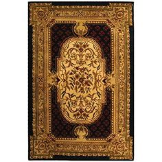 Safavieh Classic Collection CL755B Handmade Traditional Oriental Black Wool Area Rug (6' x 9')