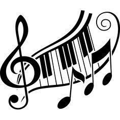 Vinilo decorativo música clave de sol y teclas de piano