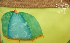bac de rangement fait en tissus ombrelle verte #spoonflowered