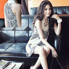 U Shaped Vintage Sleeveless Mini Dress Black White | eBay