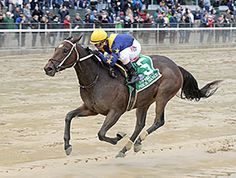Nickname, a daughter of hot sire Scat Daddy, took a commanding lead in deep stretch to take the $400,000 Frizette Stakes (gr. I) at Belmont Park.