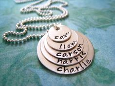 Hand Stamped Mommy Necklace  Personalized Sterling by hiphophippos, $58.00