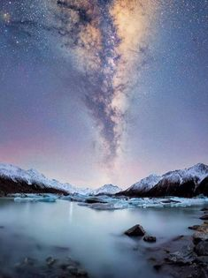 Milky Way over Tasman Glacier, South Island, New Zealand - Travel - Beautiful World, Beautiful Places, Beautiful Scenery, Cool Pictures, Beautiful Pictures, Sky Full Of Stars, Photos Voyages, Milky Way, Night Skies