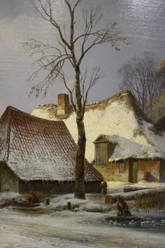 Classic Paintings, European Paintings, Beautiful Paintings, Winter Painting, Winter Art, Farm Paintings, Landscape Paintings, Amsterdam Art, Watercolor Architecture