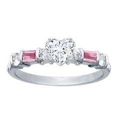 Heart Shape Diamond Engagement Ring Pink Sapphires Baguettes Band