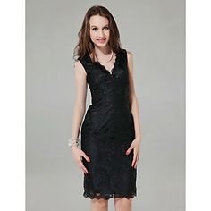 Sheath/+Column+V-neck+Knee-length+Lace+Cocktail+Dress+–+USD+$+129.99. a cute shape only available in black
