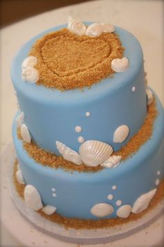 "Overall.. I am not a huge fan of this cake (maybe it's to many seashells) but the heart in the ""sand"" is adorable and I would love to incorporate that in there somewhere."