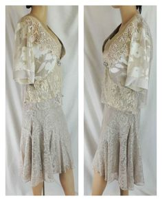 Spencer Alexis 3 PC gold lace Sheer Jacket Cami Skirt Cream #Elegant knit Floral  #SpencerAlexis #OutfitSet3Piece #Formal