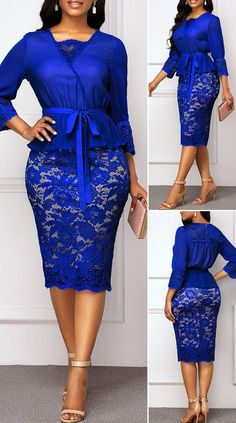 Three Quarter Sleeve Royal Blue Belted Lace Dress - New Site Elegant Dresses Classy, Elegant Dresses For Women, Classy Dress, Pretty Dresses, Beautiful Dresses, Sexy Dresses, African Wear Dresses, Latest African Fashion Dresses, Women's Fashion Dresses
