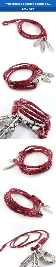 WristBraids Feather charm genuine leather wrap bracelet for men and women (Red). Beautiful handcrafted genuine leather with comfortable wear and stylish look. All of our products are carefully inspected and securely packaged. At WristBraids we are committed to bringing you the best leather bracelets collection you can find.