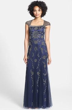 Adrianna Papell Beaded Cap Sleeve Gown available at #Nordstrom    like the color!  I like Adrianna Papell designs.