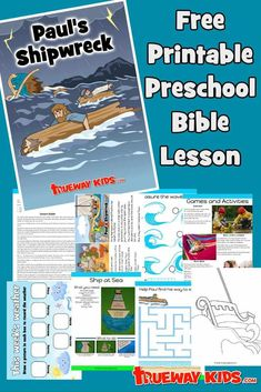 Paul's Shipwreck. Acts 27 Bible lesson for kids. FREE printable. Worksheets, story, coloring pages, craft, games and more. For home or church. Paul was on his way to Rome to stand trial when the ship he was sailing on wrecked. God was merciful and spared the lives of those aboard. We can read the story in Acts 27. Preschool Bible Lessons, Bible Study Guide, Bible Lessons For Kids, Bible Activities, Bible Games, Study Guides, Preschool Activities, Bible Story Crafts, Bible Stories For Kids