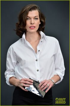 Milla Jovovich at Chanel Fashion - crisp white shirt