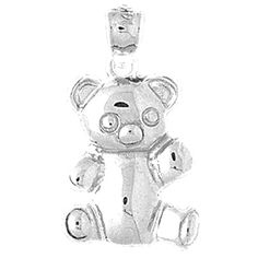925 Sterling Silver Rhodium-plated Teddy Bear Polished Open-back Charm Pendant