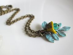 Nature Inspired Shabby Chic Autumn Necklace. Mustard Yellow Czech glass flower with Hand Patina Branch Leaf Antiqued Bronze Chain Necklace