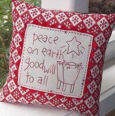 Adorable embroidered Christmas pillow