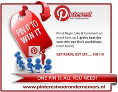 Pin It to Win it....  Pin of Repin, Like & Comment en maak kans op 2 gratis kaartjes voor één van Ria's #Pinterest of #Facebook workshops naar keuze..)    We kiezen 1 gelukkige winnaar op 2 oktober om 20.00 uur!    Zorg ervoor dat je in de hashtag #pvo zet :)    GET READY, GET SET....... PIN!!!!  http://pinterestvoorondernemers.nl/pin-it/