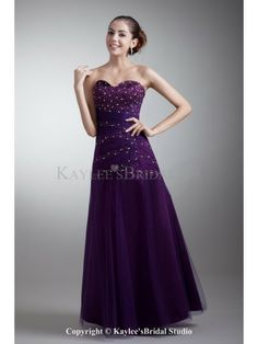 Satin and Net Sweetheart Neckline Floor Length A-line Beading Prom Dress