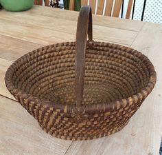 Rare Shenandoah Valley VA. Oval Rye Straw Basket w Original Handle! BEST! AAFA #Americana