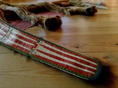 Detail of Mountain Lion bowcase and quiver with quillwork by Honza Podzemny of the Czech Republic