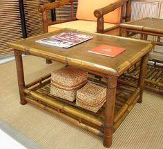 Mesa de centro, bambú natural, trabajo artesanal, uso interior y exterior 80 x 60 x H48 cm, más información vilanova8.com