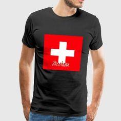 Schweiz mit Flagge - Männer Premium T-Shirt Mens Tops, Art, Fashion, Flag, Road Racer Bike, Switzerland, Art Background, Moda, Fashion Styles