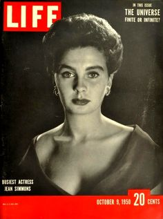 "Cover of ""Life"" (9th October 1950), featuring Jean Simmons."