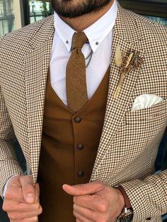 SlimFit Plaid Suit Vest Camel is part of Plaid suit - Color code Camel Available Size material cotton , PolyesterMachine washable No Fitting slimfit Cutting double button, double slitsRemarks Dry Cleaner Tweed Suits, Plaid Suit, Suit Vest, Brown Tweed Suit, Tweed Wedding Suits, Wool Suit, Blazer Outfits Men, Stylish Mens Outfits, Mens Fashion Suits
