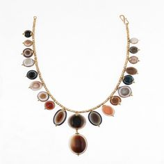 An Eye Bead Agate Necklace, Bactrian  2500-1800 BC. A rare necklace made from polished banded agate eye-beads which were used to ward off the evil of the third eye.